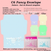 C6 Fancy Envelope - Pattern - Owl on Branch template