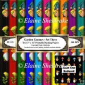 Garden Gnomes & Sunflowers - Set Three - Ten 12 x 12 Papers