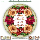 Dahlia Flowers - Plate Card Kit With Plate Stand