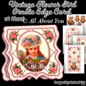 Vintage Flower Girl Ornate Edge Card