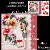 Choosing Books - Decoupage Card Front
