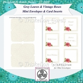 Grey Leaves & Vintage Roses Mini Envelopes & Card Inserts