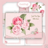 Wavy edge landscape roses and butterfly card set