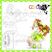 Jenny With Easter Basket and Sentiment Digital Stamps