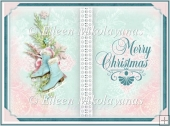 Shabby Skates Christmas Open Book Card Insert