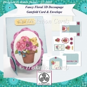 Fancy Fold Down Floral 3D Decoupage Gatefold Card & Envelope
