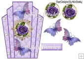 Pretty art deco frame with purple roses and butterflies