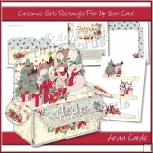 Christmas Girls Rectangle Pop Up Box Card
