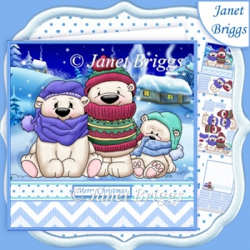 3 CHILLY POLAR BEARS 7.5 Christmas Decoupage & Insert Kit