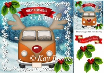 orange toon christmas campervan with holly 8x8