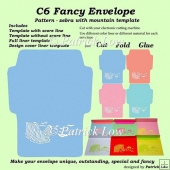 C6 Fancy Envelope – Pattern – Zebra with mountain template