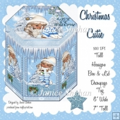 HEXAGON GIFT BOX AND TAG - CHRISTMAS CUTIE