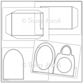 Commercial Use Handbag Pillow Card Template Set