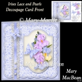 Irises Lace and Pearls Decoupage Card Front