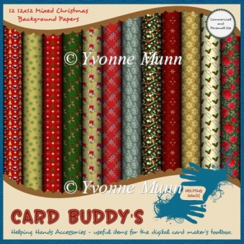 Twelve 12x12 Mixed Christmas Background Papers - CU/PU