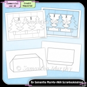 Christmas Tri Shutter Card & Envelope Template Commercial Use Ok