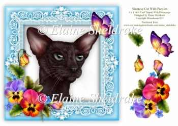 Siamese Cat & Pansies 8 x 8 Card Topper With Decoupage