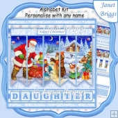 SANTA'S WOODLAND VISIT 7.5 Alphabet Quick Card Create Any Name