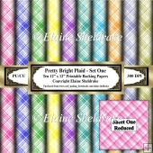 Pretty Bright Plaid - Set One- Ten 12 x 12 Printable Papers