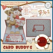 Hugs From Puppy & Me! Decoupage Shaped Easel Card Kit
