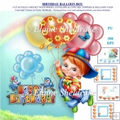 Birthday Balloon Boy Card Kit With Extra Tags & Cupcake Toppers