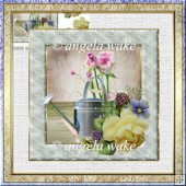 The watering can 7x7 card with decoupage
