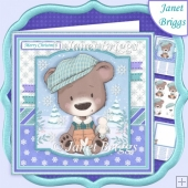 BEAR IN FLAT CAP 7.5 Christmas Decoupage & Insert Card Kit
