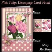 Pink Tulips Decoupage Card Front