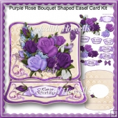 Purple Rose Bouquet Shaped Easel Card Kit