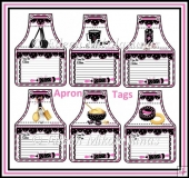 Homecooking Country Recipe Apron Tags with Kitchen Images