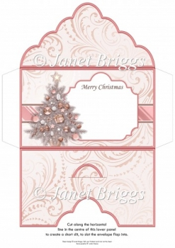 Christmas Money Wallet Gift Voucher Envelope ROSE GOLD TREE