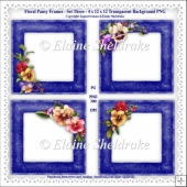 Floral Pansy Frames Set Three - 4 x PNG Photo Frames