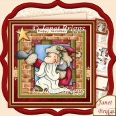 SANTA AT THE WINDOW Christmas 7.5 Decoupage & Insert Kit