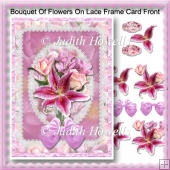 Bouquet Of Flowers On Lace Frame Card Front
