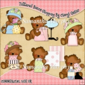 Tattered Bears Shopping ClipArt Graphic Collection