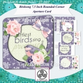 Birdsong Rounded Corner Aperture Card with Decoupage
