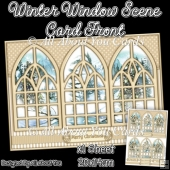 Beige Winter Window Scene Card Front