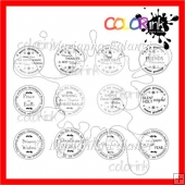 12 Circle Christmas Sentiments ~ Digital Stamps