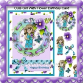 Cute Girl with Flower Birthday Card
