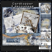 Vintage Card Topper blue grunge