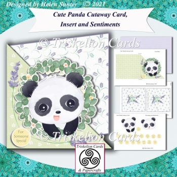 Cute Panda Cutaway Card, Insert and Various Sentiments
