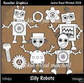 Silly Robots Colour Your Own Reseller Clipart