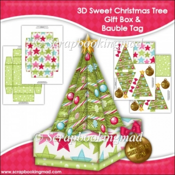 3D Sweet Christmas Tree Gift Box and Bauble Tag