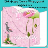 Pink Poppy Ornate Wraparound Gatefold Card