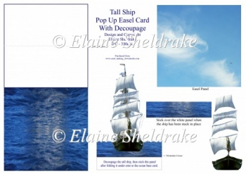 Tall Ship - 3D Pop Up Easel Card With Decoupage