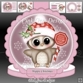Santa Stop Here Olivia Owl Pink Shaped Card Kit