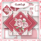 Pink rose pop up triangle card set