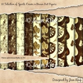 10 Selection of Sports Cream n Brown 8 x 8 Papers