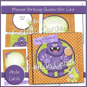 Monster Birthday Shadow Box Card