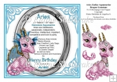 8 x 8 Aries Zodiac Birthday Gemstone Dragon Topper & Decoupage